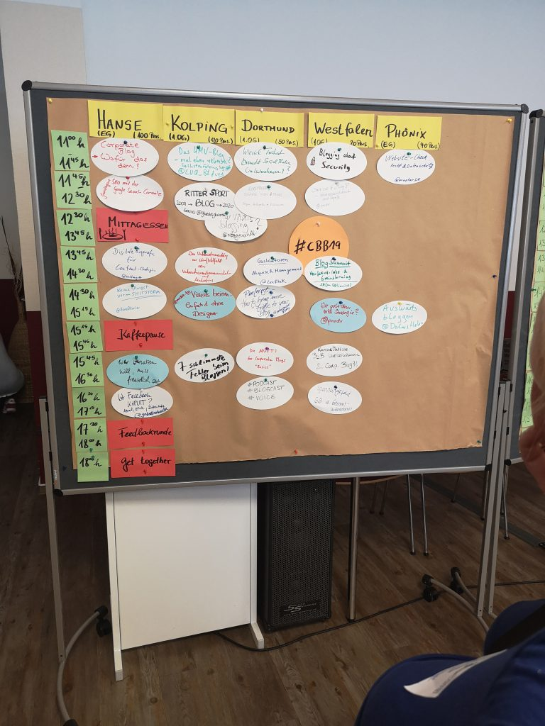 Das Sessionboard des Corporate Blog Barcamps 2019